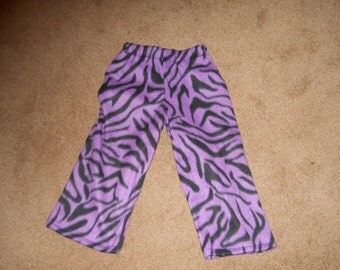 Purple and Black Zebra  Fleece PJ Pants Sz XS