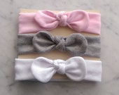 Knot Baby Headband Pack in Pink, White, and Gray , Jersey Baby Headband, JerseyHeadband,, Baby Girl Gift, Solid Headband