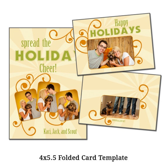 4x5.5 Folded Christmas Card Template Holiday Card