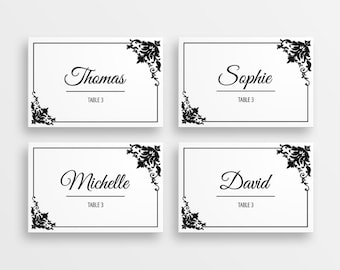 Printable wedding place cards - black and white name cards  - DIY wedding decor - DIGITAL DOWNLOAD