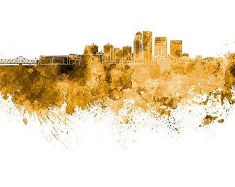 Louisville skyline in watercolor on white, 8 monochrome colors, and full color - SKU 0532