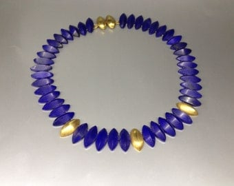 Stunning Lapis Lazuli collier / necklace with 14K gold - inspired by ancient queens - gift idea for christmas
