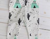 ORGANIC cactus/teepee desert leggings, GREAT PRICES, buttery soft, playtime, unisex baby leggings, desert night
