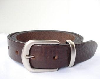 "Brown Suit Belt - 1"" 1/4 - Handmade in UK - Matt Silver Buckle - Formal Belt - Mens Leather Belt - Wedding Belt Men"