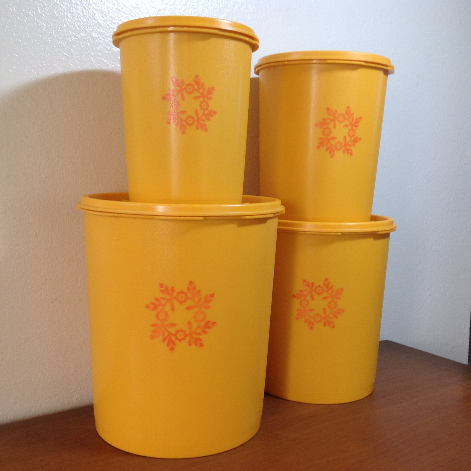 yellow canister sets kitchen vintage tupperware canisters set of 4 gold yellow orange 22788