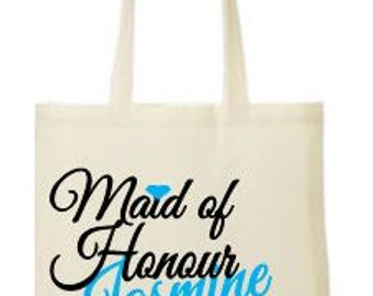 Personalised  Maid of Honour  - your name and date printed tote/shopper bag - wedding/married/hen night/hen party