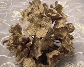 Burlap Hydrangea Stem rustic wedding natural burlap flower burlap flowers with stems for burlap wedding bouquet