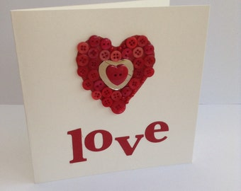Love Heart card with large button embellished heart.