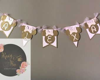 Minnie mouse pink and gold banner