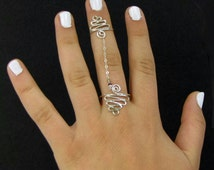 Knuckle Two Rings Sterling Silver Unusual Rings Statement Jewelry Trending