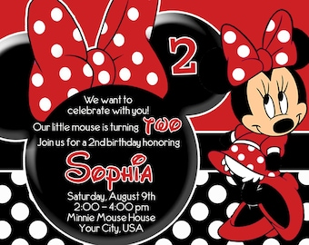 Minnie Mouse / Red / Birthday Printable Invitation