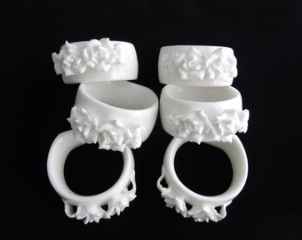 Ceramic Napkin Rings With Applied Roses, Set of 6 White Napkin Rings
