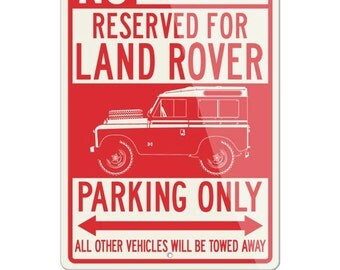 No Parking Sign Reserved for Land Rover 1948 Only - Large (12x18) & Small (8x12) Aluminum Sign - British Classic Car Gift by Legend Lines