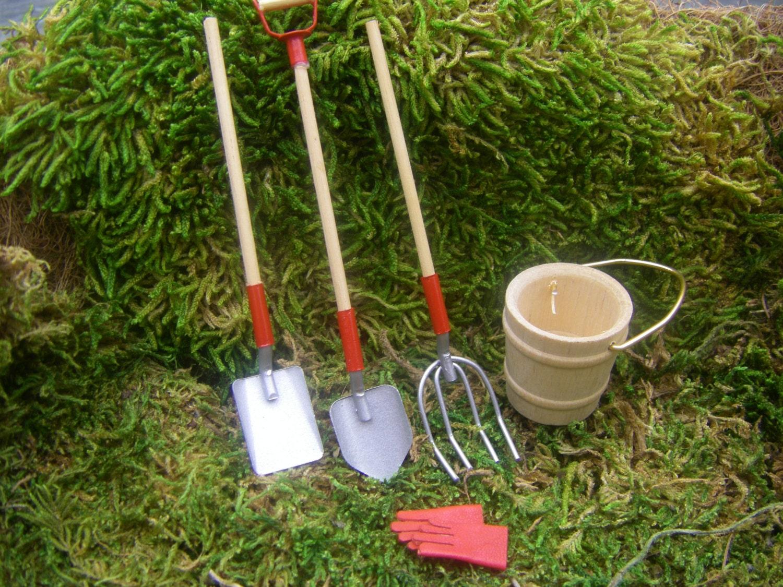 3 piece set of miniature garden tools in 1 12 scale with wood for Miniature garden tools
