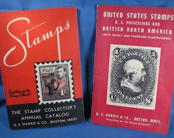 Vintage H. E. Harris Stamp Collecting Books - Set of Two