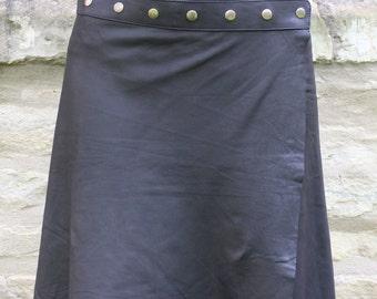 Handmade Leather Skirt, Hippie, Skirt, Black