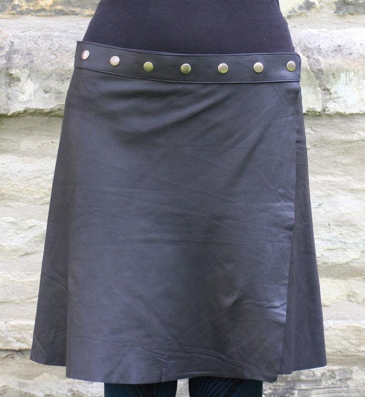 handmade leather skirt hippie skirt black by kimamashop on