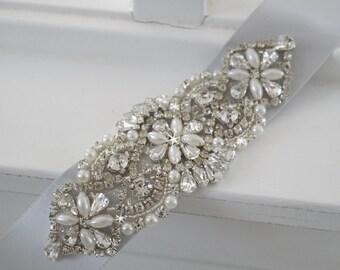 Wedding Belt, Bridal Belt, Sash Belt, Crystal Rhinestone & Off White Pearls - Style 143