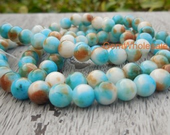 """15.5"""" Dyed blue jade 6mm/8mm/10mm/12mm round beads, Brown blue color beads, blue gemstone, semi-precious stone,sky blue dyed jade"""
