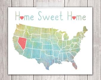 75% OFF SALE - Home Sweet Home - 8x10 Nevada Print, Art Print, Home Decor, Printable Home Decor, Nevada Printable, Printable Art