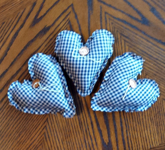 Three Country Primitive Heart Bowl Fillers - Ornaments - Tucks - Homespun- Handmade - OFG, FAAP, HAFAIR