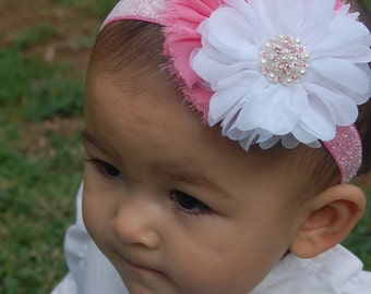 Pink and white headband, newborn headband, baby headband, girls headband, pearl and rhinestone headband