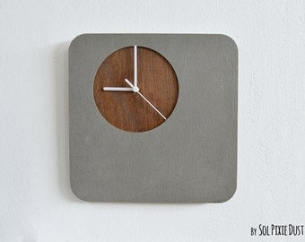 Concrete Wall Clock With Wooden Hole - Modern Wall Clock
