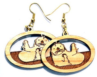 Wood Jewelry, Otter, Animal Lover, Wood Earrings, Natural Wood, Wildlife, Earth Friendly