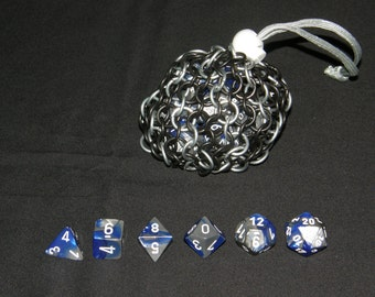 Chainmail Dice Bag, Half-Black Stainless Steel, Small: Ready to Order