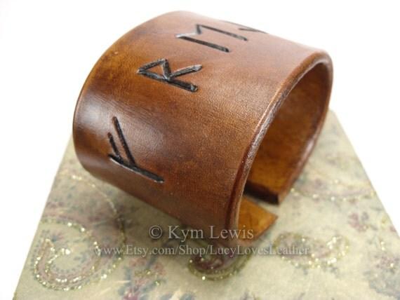 Freyja Rune  Cuff Bracelet  Futhark Rune  Leather Cuff  Unisex Jewelry    Freyja Rune
