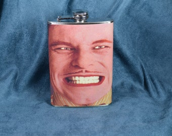 Monty Python's Flying Circus - Grinning Man Cartoon Cut Out Animation - 8 oz stainless steel flask (RN 1639)
