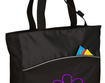 Personalized Tote Bag Embroidered Tote Bag Custom Tote Bag - Sports - Flower - B1510