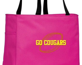 Personalized Football Tropical Pink Essential Tote with FREE Personalization & FREE SHIPPING    B0750