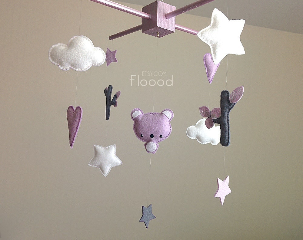 koala baby mobile modern nursery decor hearts stars baby. Black Bedroom Furniture Sets. Home Design Ideas