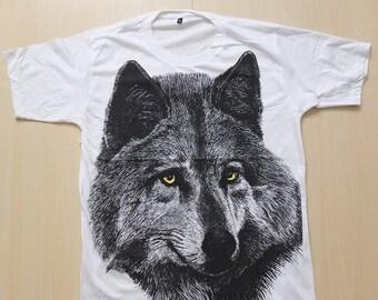 Wolf Tiger Animal Punk Rock Fashion T-Shirt L