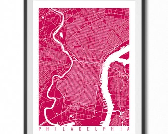 Philadelphia Map Art Print / Pennsylvania Poster / Philadelphia Wall Art Decor / Choose Size and Color