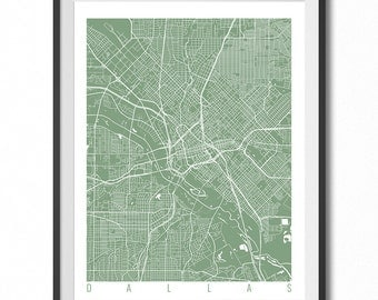 DALLAS Map Art Print / Texas Poster / Dallas Wall Art Decor / Choose Size and Color