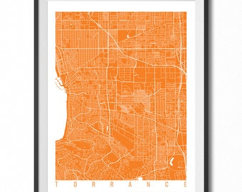 TORRANCE Map Art Print / California Poster / Torrance Wall Art Decor / Choose Size and Color
