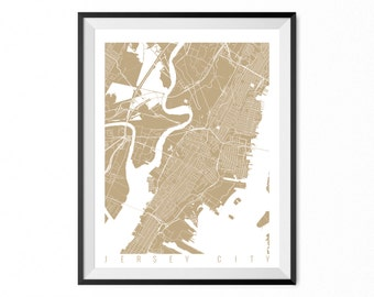JERSEY CITY Map Art Print / New Jersey Poster / Jersey City Wall Art Decor / Choose Size and Color