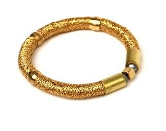 Golden Textile Bracelet, Statement Bracelet, Brass Bracelet, Mixed Media Bracelet, Fabric Bracelet, Gold Colored Rope Bracelet