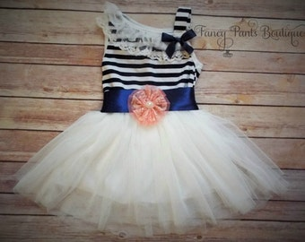 Navy White Toddler dress,  Girls Tutu Dress, Vintage Girls Dress,  Flower Girl Dress, Easter Birthday Dress,Rustic Beach Wedding coral