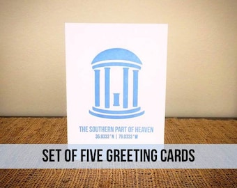 """Set of Five """"Chapel Hill"""" Greeting Cards"""