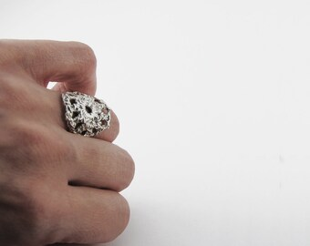 silver ring with crochet