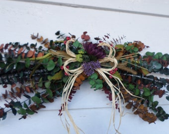 Multi Colored Eucalyptus Swag! Rustic Dried Floral wall arrangement! Vibrant decorative wreath swag!