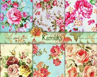 Vintage Floral Digital image. Victorian Decoupage Digital Paper Pack. Roses Digital. Floral Digital Paper.  Vintage Download K-06