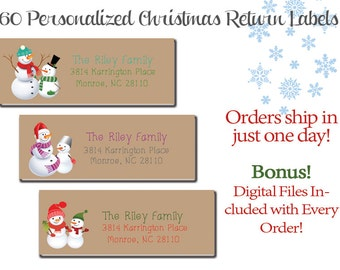 60 Personalized Snowman Return Address Labels - Custom Christmas Labels
