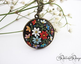 Moonlight Flowers  - Polymer Clay Pendant - Handmade Floral Pendant  - Unique Jewelry - Made to Order