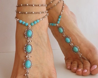 BEACH WEDDING BAREFOOT sandals. Blue turquoise stone. Hippie sandals Boho Bridal sandals, Wedding accessories Crochet anklet Bohemian anklet