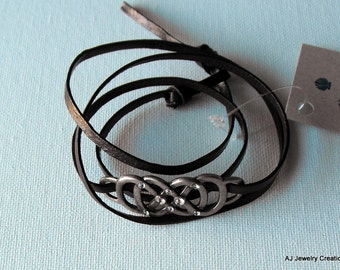 Leather Wrap Bracelet - Leather Jewelry - Boho Jewelry  (BD-677)
