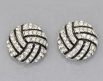 Volleyball Rhinestone Post Style Earrings